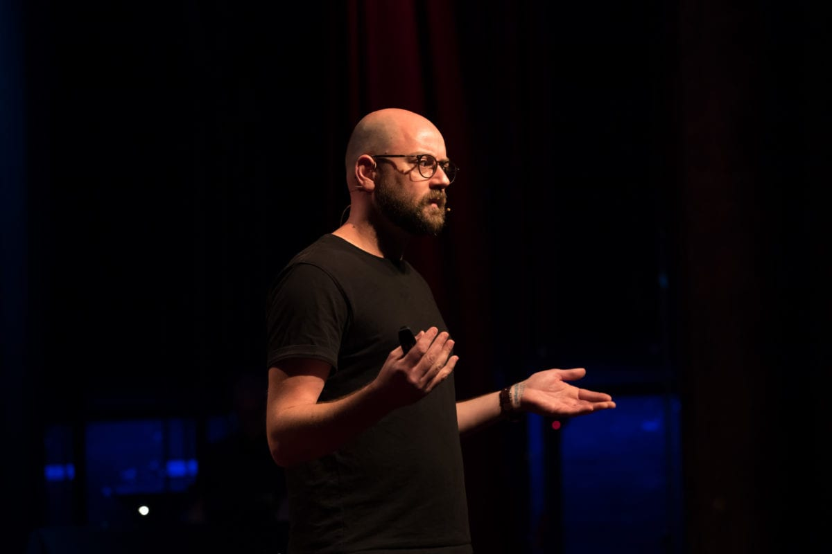 Matt Granfield Delivering His TEDx Talk At TEDxBrisbane