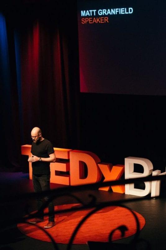 Matt Granfield Delivering His TEDx Talk At TEDxBrisbane