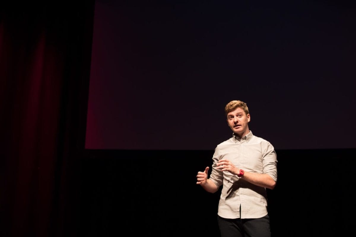 Ben MacMahon Delivering His TEDx Talk About A Solution For Visual Spatial Neglect