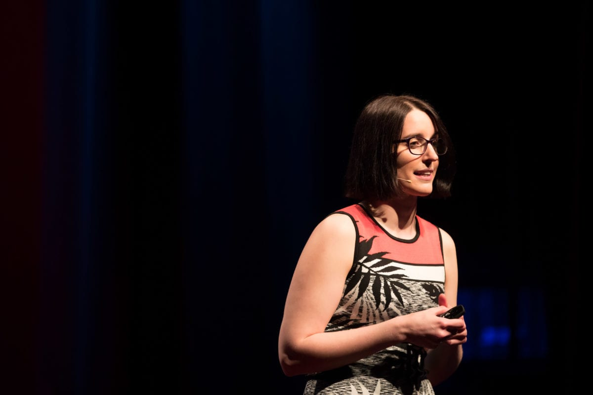 Gemma Sharp Delivering Her TEDx Talk About Labiaplasty